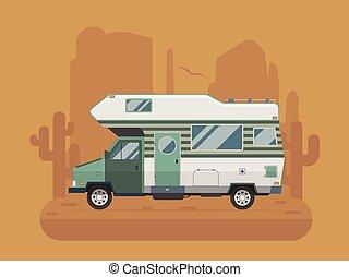 Camper Trailer on desert National Park Area