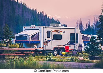 Camper Travel Trailer. Travel Trailer Pop Up Style Camping...