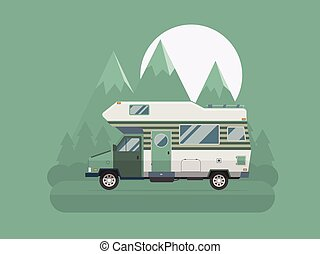 Camper traveler Truck on National Mountain Park Area - RV...