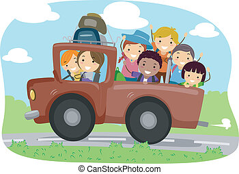 Camper Truck - Illustration of Campers in a Truck