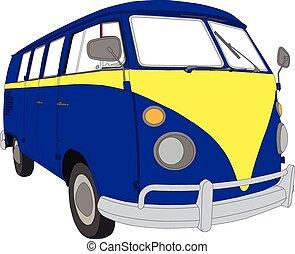 Colourful VW beetle van camper