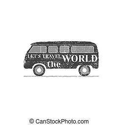 Camper van car logo, emblem and badge isolated on white background. RV and caravan park design. Recreational vehicle vector illustration with typography elements. Stock illustration