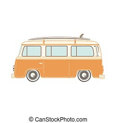 Camper van with surf board. - Travel camper van with surf...