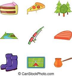 camper voyage, icônes, ensemble, dessin animé, style