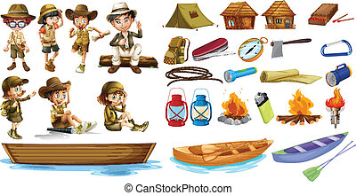 Campers and the things used during camping - Illustration of...