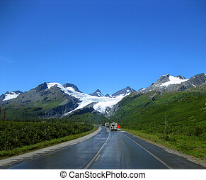 Campers Curving Toward Alaskan Glacier