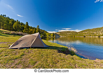 Camper's Tent on Lake Shore Park