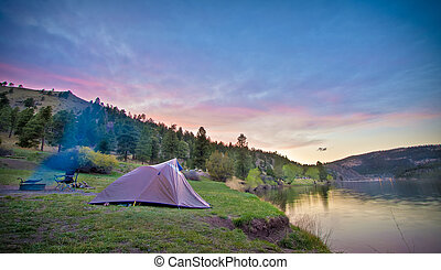 Camper's Tent on Mountain Lake
