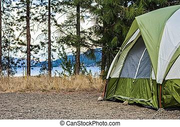 Camper's Tent Set Up in Wilderness