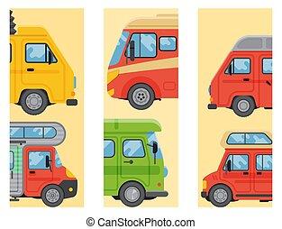 Campers vacation travel car summer brochure nature holiday trailer house cards vector illustration flat transport