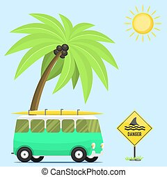 Campers vacation travel car summer nature background holiday trailer house vector illustration flat transport