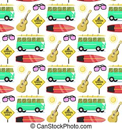 Campers vacation travel car summer nature seamless pattern background holiday trailer house vector illustration flat transport
