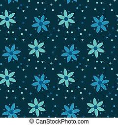 campesino, estilo, simple, patrón floral, en, azul, color.,...