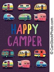 campeur, bannière, caravane, heureux