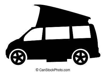 campeur, camping car, moderne, fourgon, silhouette