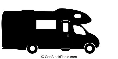 campeur, camping car, voyante, fourgon, silhouette