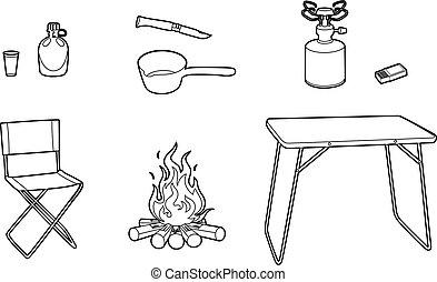 campeur, dessin, équipement