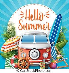 campeur, van., summer., bonjour