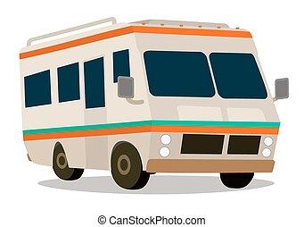 campeur, vendange, camping car, dessin animé, vacat