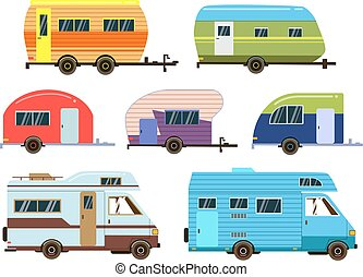 campeurs, voitures, set., différent, recours, trailers., vecteur, images, dans, plat, style