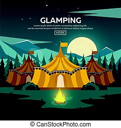 campfire., abend, camping., camp., glamping., kiefernwald, ...