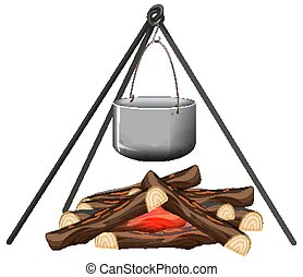 Campfire and cooking pot on white background