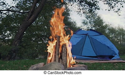 Campfire and tourist tent in the forest by the river