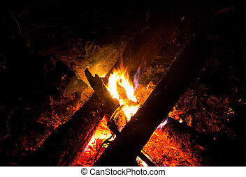 campfire bright flame in the dark on a hot campaign halt outdoor