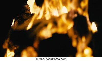 Campfire burning at night, blur