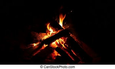 Campfire burning nice in the dark. Firewood in the fire and...