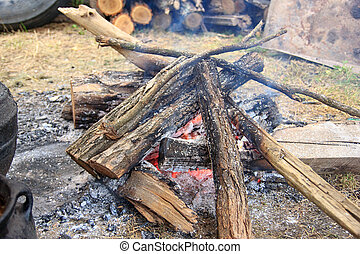 Campfire burning on wood outside in nature