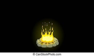 Cartoon animation of campfire with alpha channel.