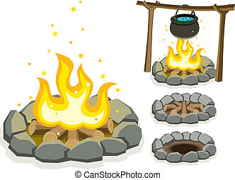 Cartoon illustration of campfire in 4 different situations. No transparency and gradients used.