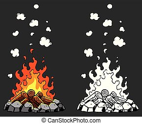 Campfire Cartoon Set