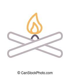 campfire color line icon