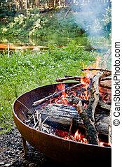 campfire, em, a, selva