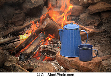 Campfire - Enamel coffe pot percolator and blue enamel...