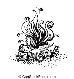 Campfire, fire over wood logs. Black and white graphic...