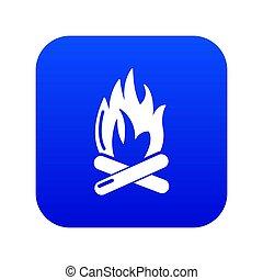 Campfire icon blue