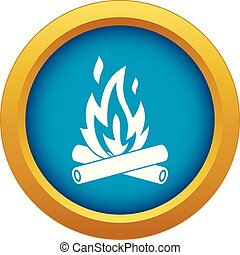 Campfire icon blue vector isolated