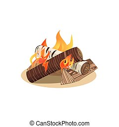 Campfire icon. Freehand drawn cartoon style. Base camp fire wood logs burning in flame isolated on white. Outdoor campsite sign. Outdoor fire emblem. Vector template for camping banner background