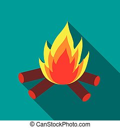 Campfire icon in flat style