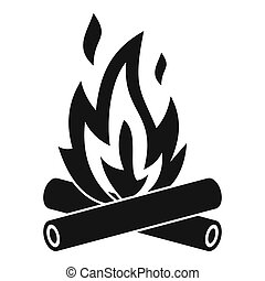 Campfire icon, simple style - icon. Simple illustration of...