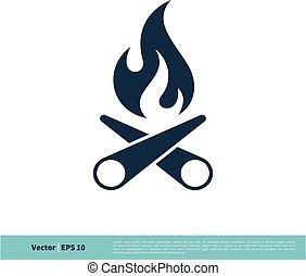 Campfire Icon Vector Logo Template Illustration Design. Vector EPS 10.