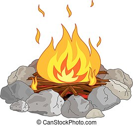 Campfire - Illustration of flame into fire pit