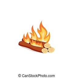 Campfire isolated on white background. Bright bonfire in cartoon style.