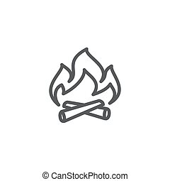 Campfire line icon on white background