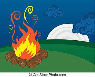 campfire, luna