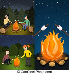 Campfire marshmallow banner set, cartoon style