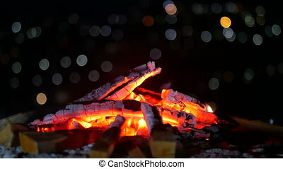 Campfire night boken view - Evening mood campfire in the...